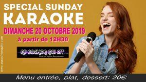 Dimanche 20 octobre 2019 après-midi spécial karaoké (cliquez ici pour plus d'infos)